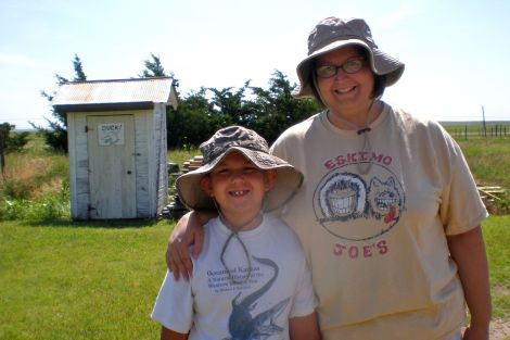 Jackson and I in front of the outhouse - it was Jackson's first experience with an outhouse!