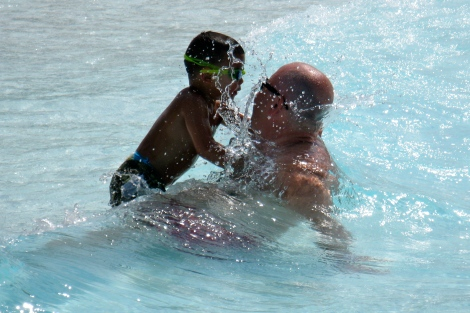 Gabriel and Andy in the wave pool